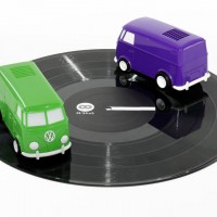 Record Runner green and purple on vinyl record